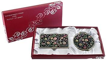 Miroir De Maquillage Compact Nacre Design Arabesque Loupe Double Porte Carte Crdit Nom Visite