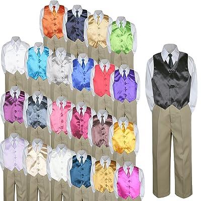 d0fdc21e3 4pc Baby Toddler Kid Boy Teen Formal Suit KHAKI Pants Shirt Vest Necktie Set  5-