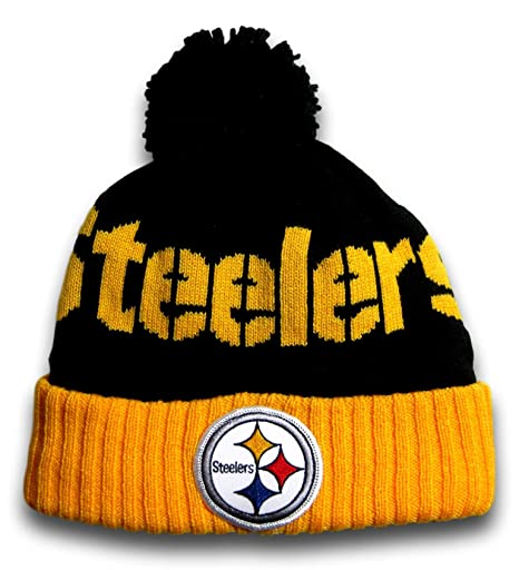 bd68a769a Amazon.com   Fan Apparel Pittsburgh Black Cuffed Black Ball Top Beanie Hat  Toque (TS254)   Sports   Outdoors