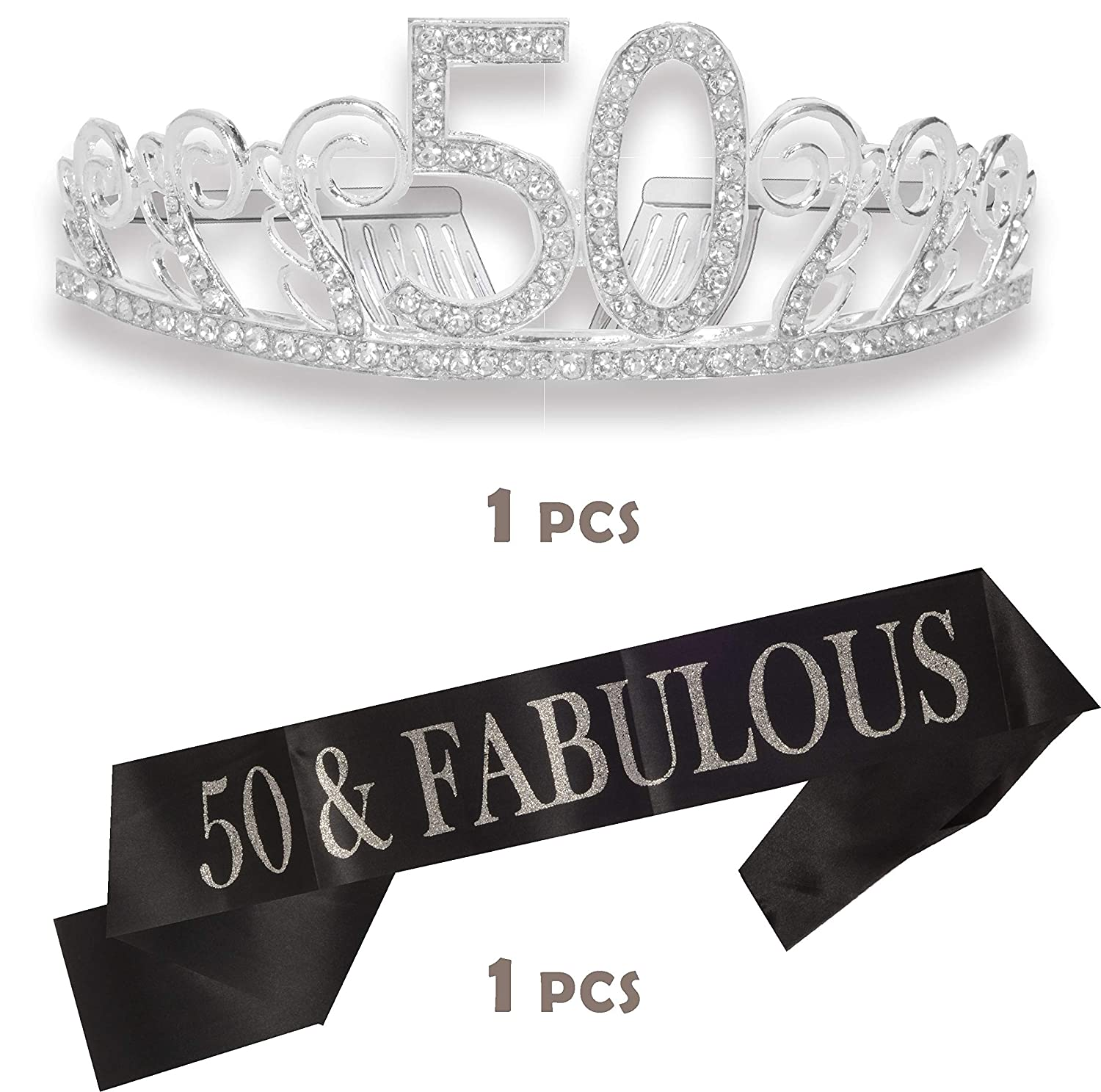 50th Birthday Tiara and Sash Happy 50th Birthday Party Supplies 50 /& Fabulous Black Glitter Satin Sash and Crystal Tiara Birthday Crown for 50th Birthday Party Supplies and Decorations