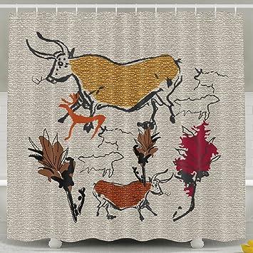 Stoff Duschvorhang Für Badezimmer Damen Clipart Polyester Waschbar Bad  Vorhang 152,4 X