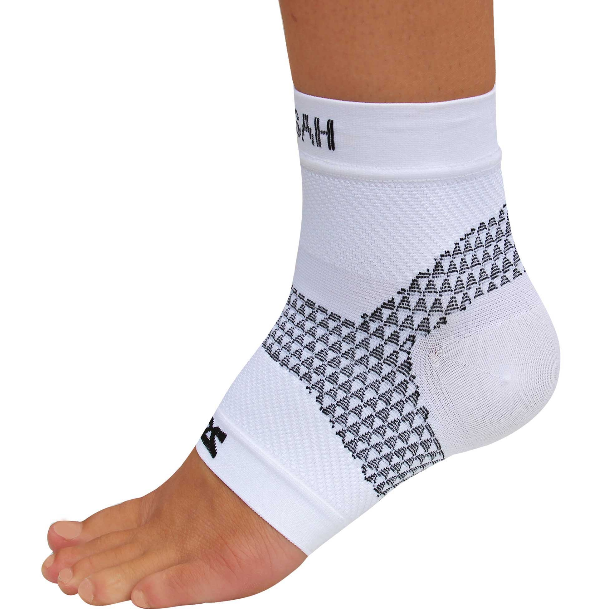 Zensah PF Compression Sleeve (single) - Plantar Fasciitis Sleeve, Relieve Heel Pain, Arch Support, Reduce Swelling - Foot Sleeve, Plantar Fasciitis Sock,S,White