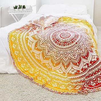 Amazon.com: Ankit 70 X 70 Inch Red /Yellow Fire Ombre Round Mandala ...