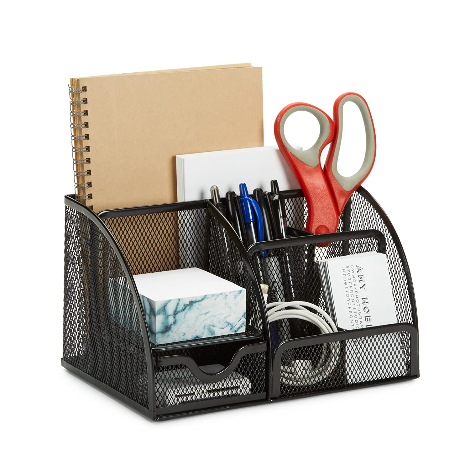 7 Compartment Wire Mesh Desk Organizer, Black, Compact Caddy for Desk Accessories, Perfect for Home, Students, Or Office Blue Summit Supplies