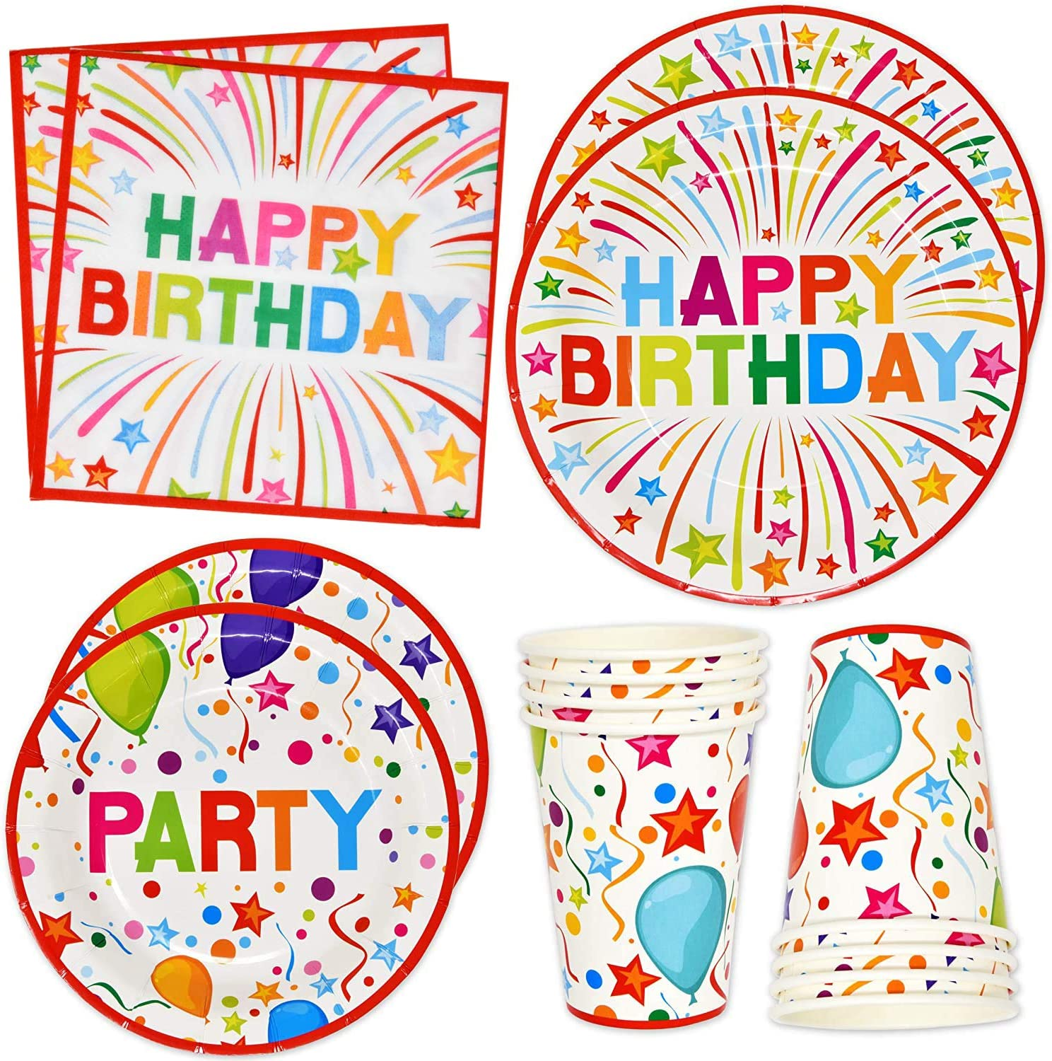 "Happy Birthday Party Supplies Tableware Set 24 9"" Plates 24 7"" Plate 24 9 Oz. Cups 50 Lunch Napkins for Adult Teens Kids Boys Girls Balloon Confetti Rainbow B-day Parties Disposable Paper Goods Decor"