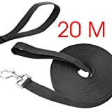 Poppypet Long Training Dog Leash, Durable Nylon Dog Leads, Rope Lead for Dogs, Dog Training Tracking Lunge Obedience Leash 20m Black