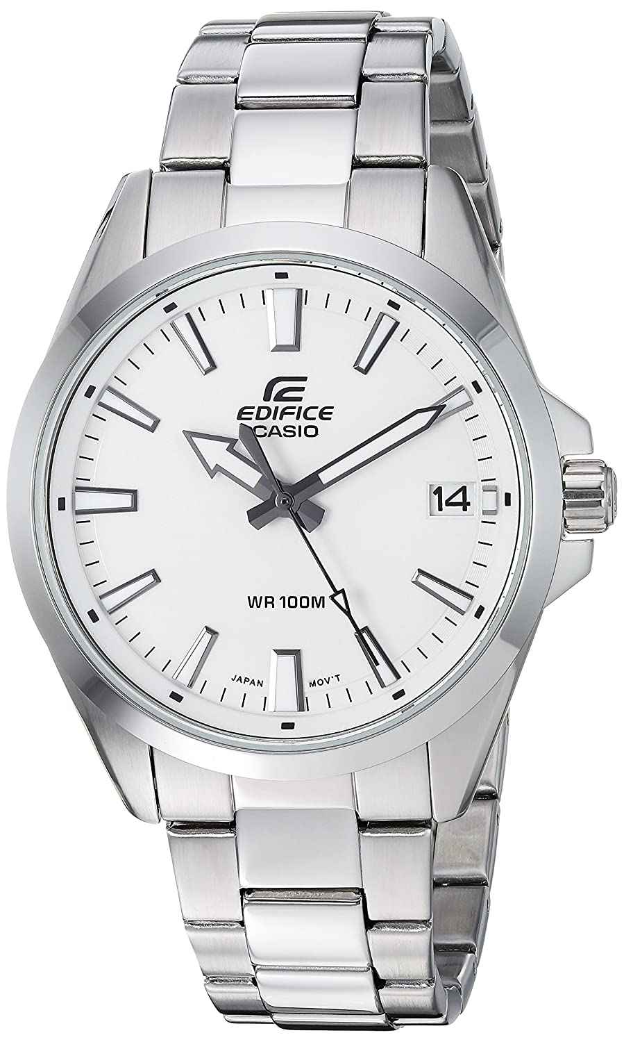 Casio Men s Edifice Quartz Watch with Stainless-Steel Strap, Silver, 19.7 Model EFV-100D-7AVCR