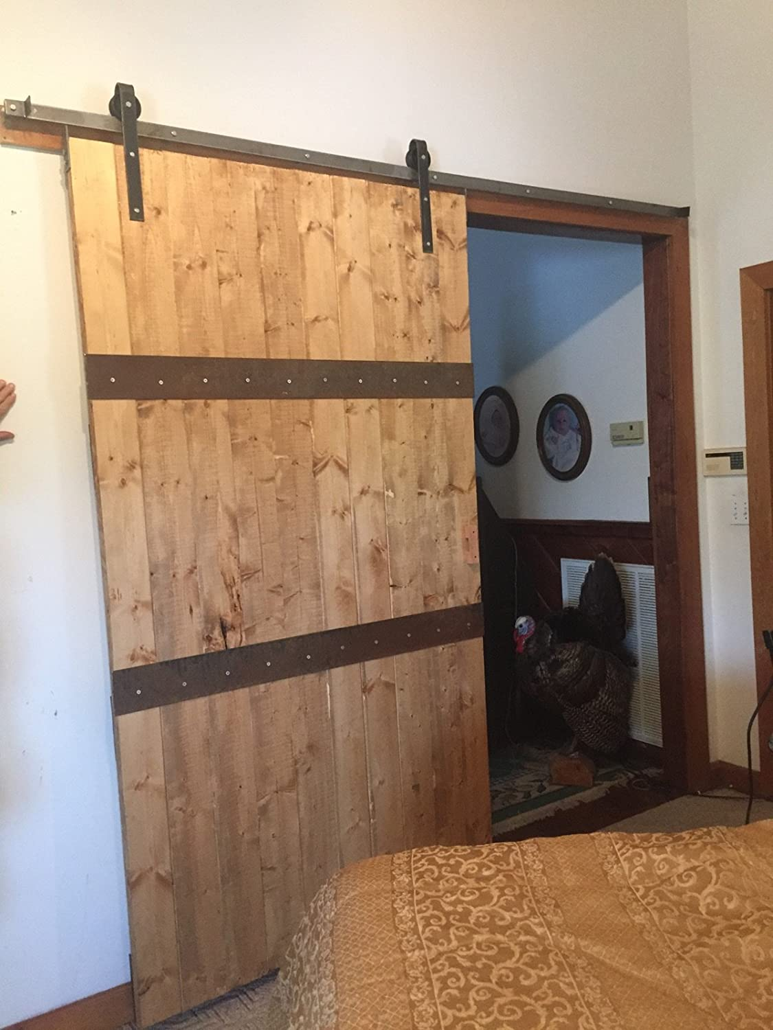 rustic antique country sliding barn door hardware ready to ship 7feet track single door classic made in usa amazoncom
