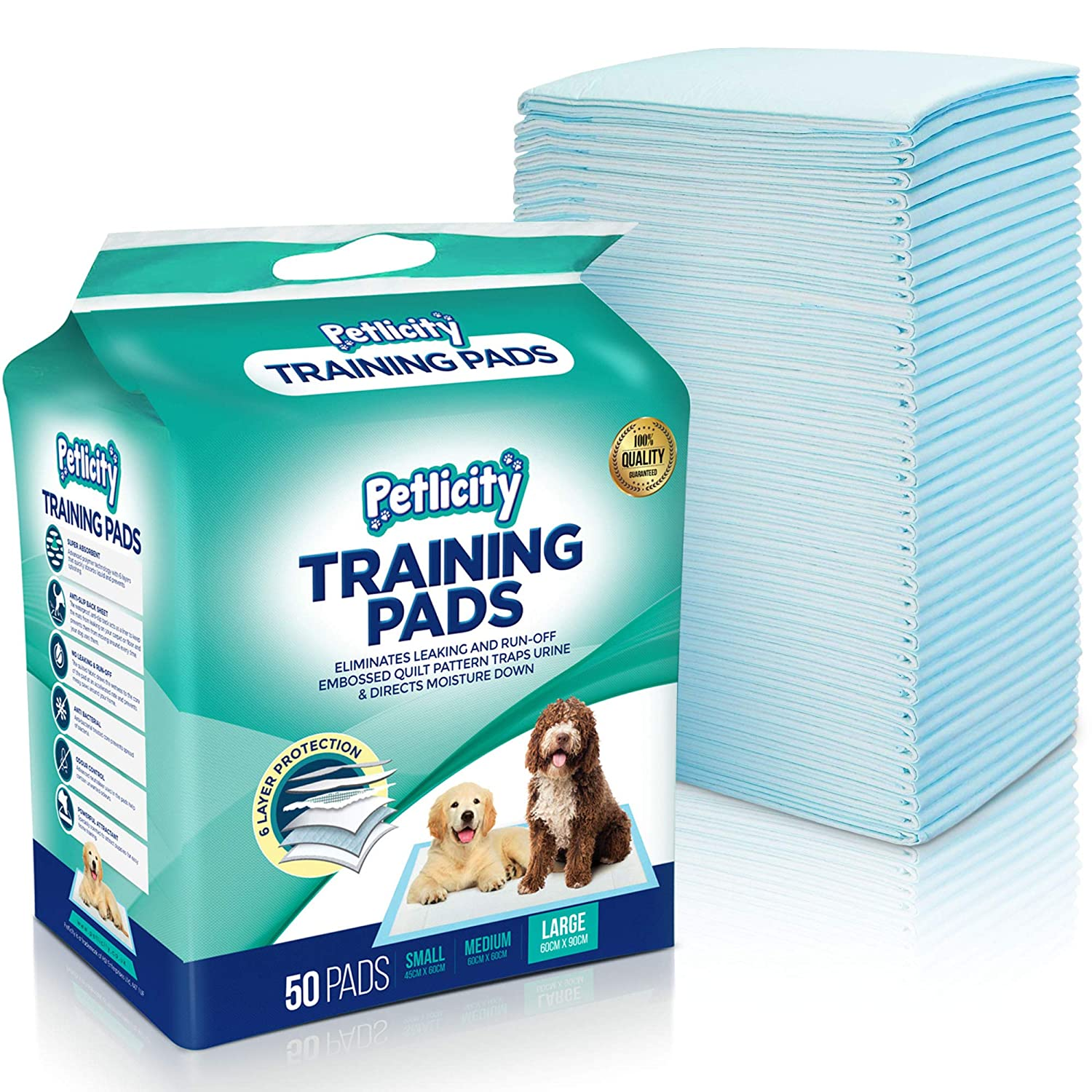 Pack of Puppy Dog Toilet Training Pads - Highly Absorbent Mats to protect your Floor, Carpets and Furniture from Pet Pee Wee Mess (Large (60x90cm), 100 Pack) Petlicity