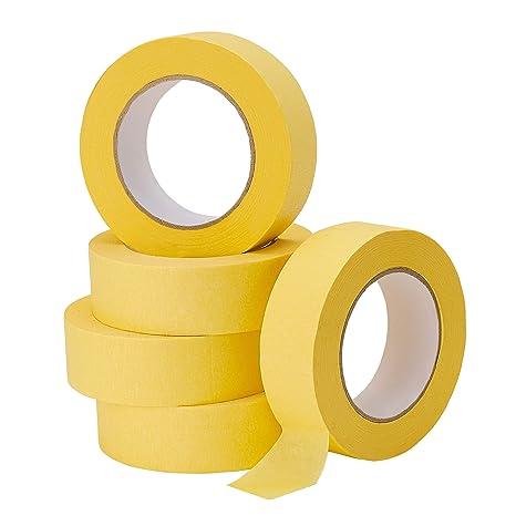 Lichamp 5 Pack Automotive Refinish Masking Tape Yellow 36mm X 55m Cars Vehicles Auto Body Paint Tape Automotive Painters Tape Bulk Set 1 4 Inch X