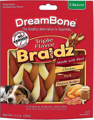 Dreambone Triple Flavor Braidz Chicken Pork Peanut Butter Rawhide Free 5 Count Pack