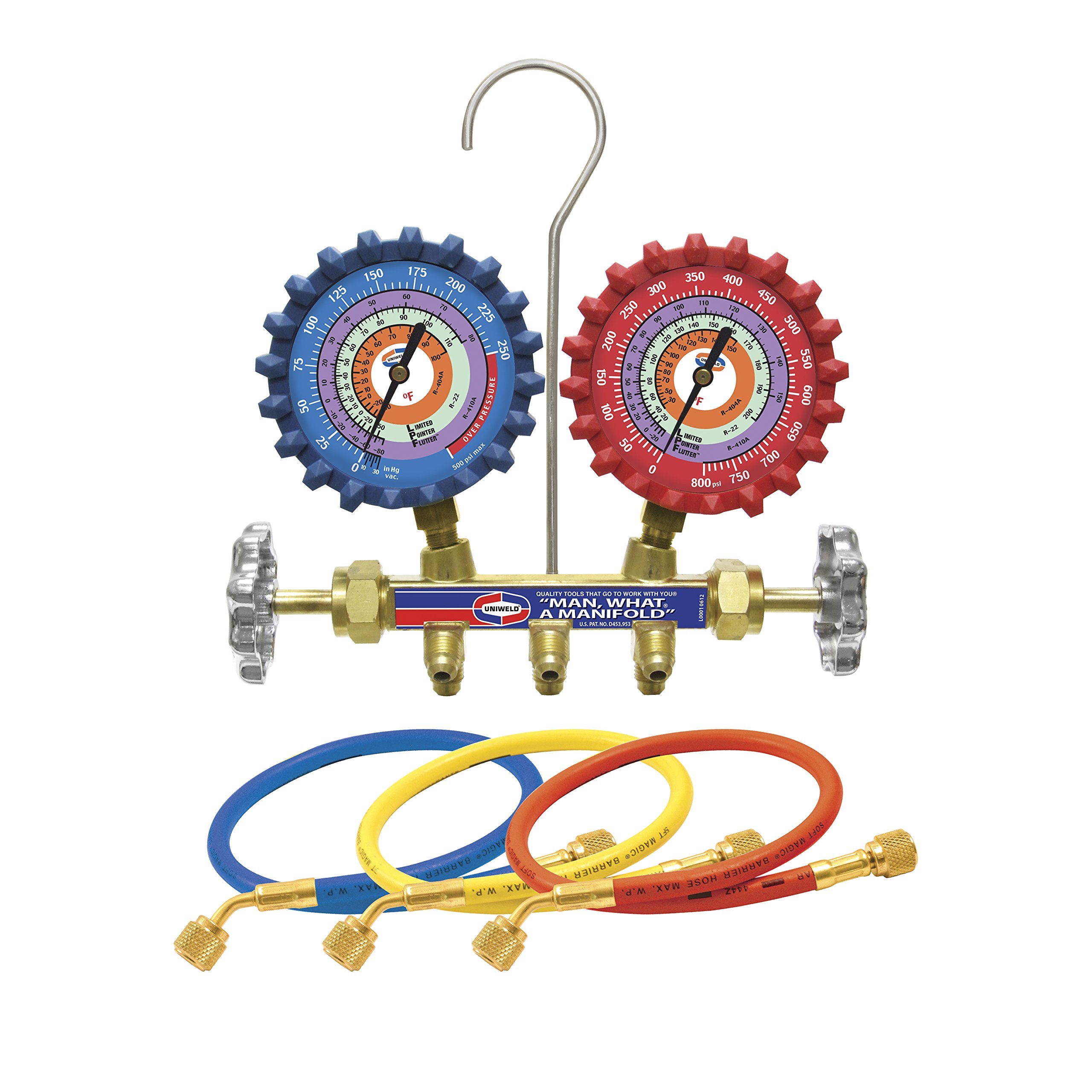 Uniweld QS4L5H 2-Valve Brass Manifold with 5' Hoses by Uniweld