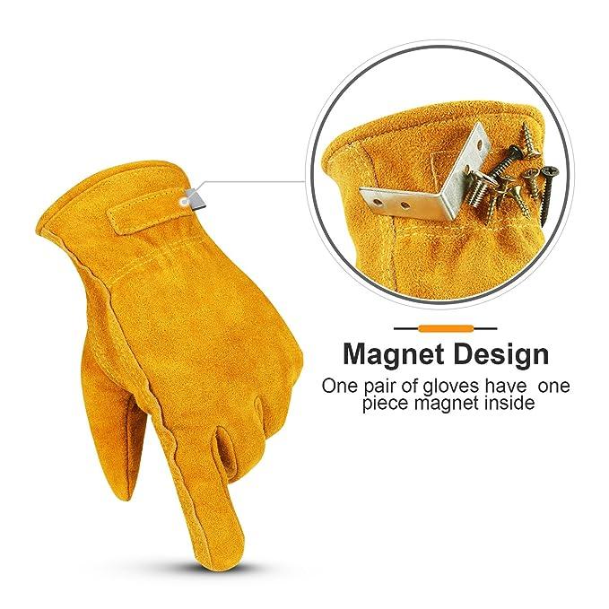 Ozero piel de vaca guantes de trabajo, utilidad guante con un desmontable imán para guardar tornillos, clavos, tornillos - Forro de tejido de malla ...