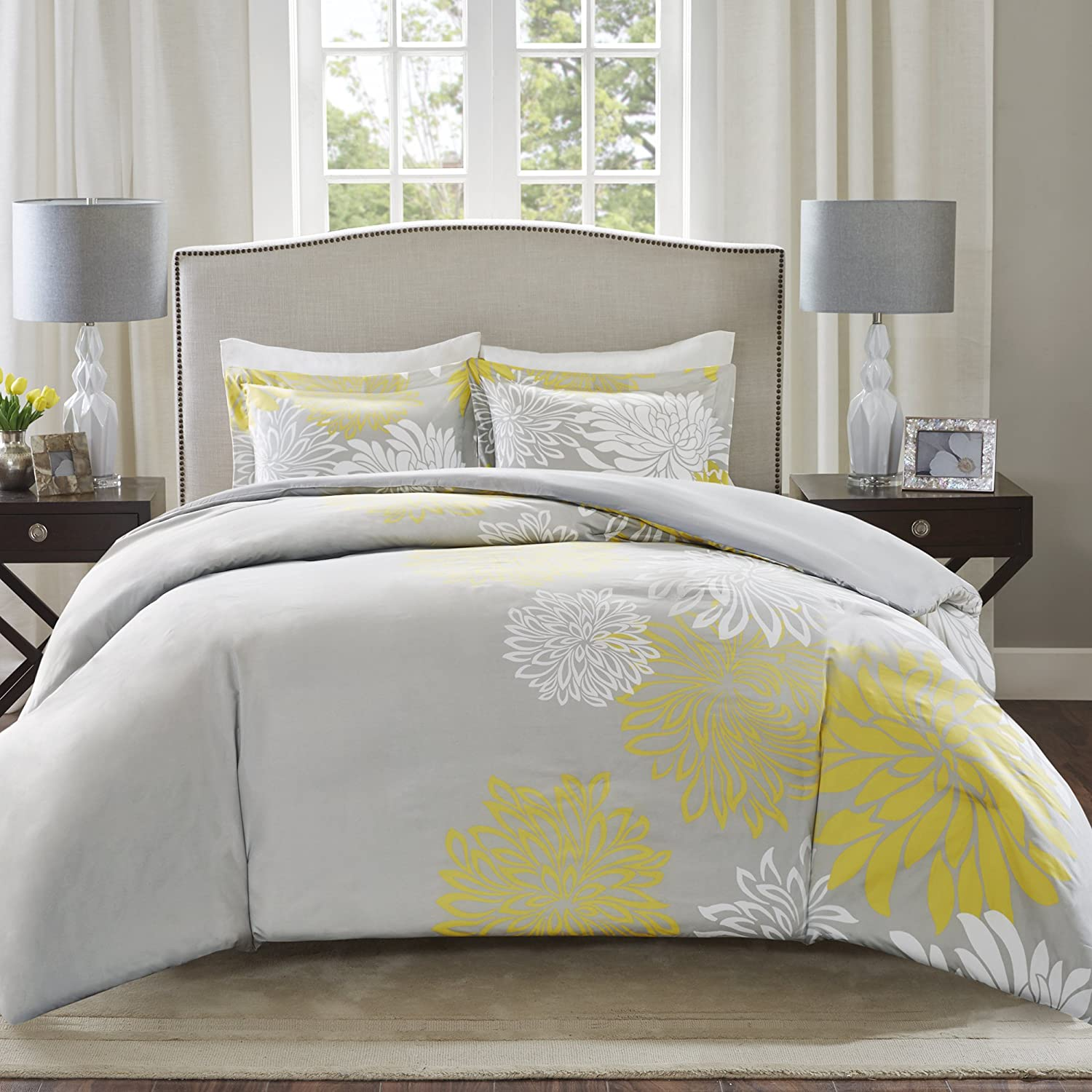 Comfort Spaces Enya 5 Piece Comforter Set Ultra Soft Hypoallergenic Microfiber Floral Print Bedding, King, Yellow/Grey