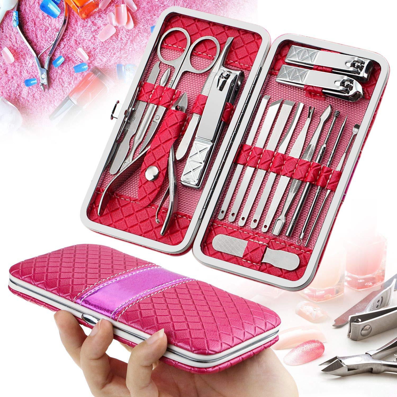 18 PCS Set de Manicura, kit de pedicura manicura Calmare con estuche de cuero Rose rojo-pedicura de acero inoxidable conjunto de uñas kit de aseo MZK