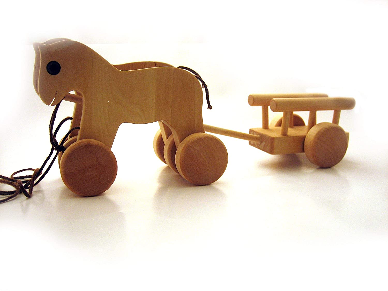 Pferde mit Wagen, Nachziehspielzeug