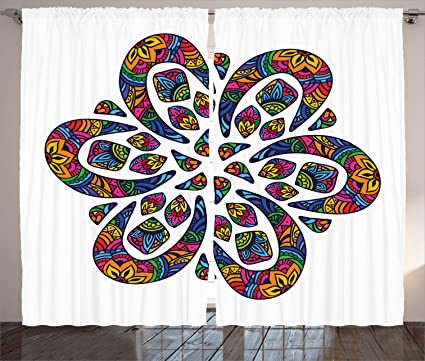 b33ab3c0b263c Lunarable Psychedelic Curtains, Hippie Style Retro 90s Floral Psychedelic  Paisley Motif Nature and Cosmos Theme