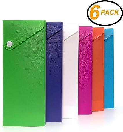 EmRaw - Estuche deslizante para lápices de colores, estuche deslizante para lápices de colores, estuche para lápices de colores y estuche para lápices (paquete de 6): Amazon.es: Oficina y papelería