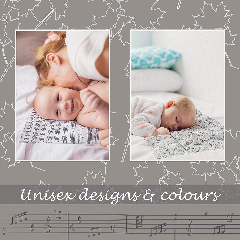 Burp Cloths   Baby Burp Cloths   6 PK of 100% Organic Burp Cloths   Premium Cotton   Extra Large and Absorbent   Unisex Design for Baby Boy & Girl   White Cloth & Grey Pattern   Newborn Shower Gift