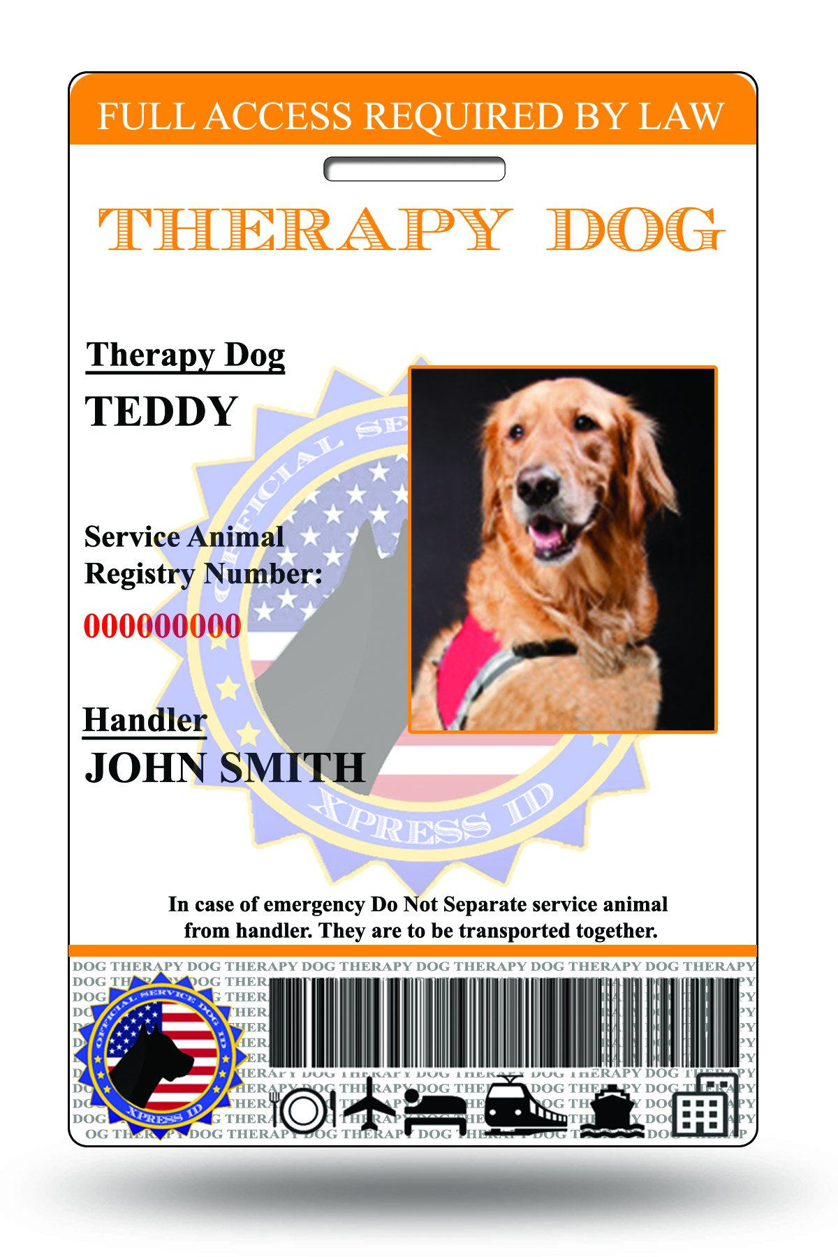 XpressID Holographic Therapy Dog ID Card (Custom) | Includes Registration to National Dog Registry