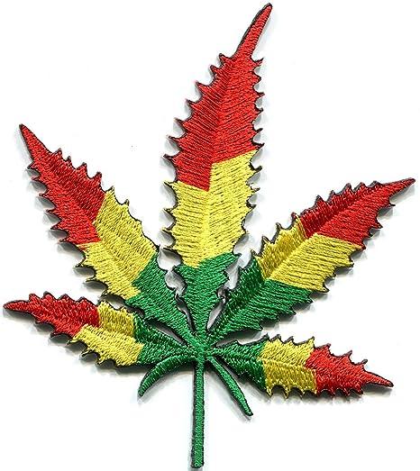 Bandera de hoja de marihuana olla hierba de judá Reggae RASTAFARI de manga corta bordado Applique. Pasa ...
