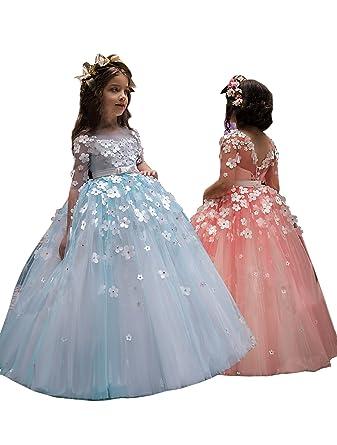 2018 A-Line Half Sleeve Flower Girl Dresses Floor Length Girls Prom Dresses With Flowers