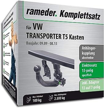 rameder Juego completo, remolque extraíble + 13POL Elektrik para Volkswagen Transporter T5 Buzón (143403 - 05004 - 2): Amazon.es: Coche y moto