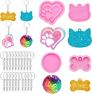 24PCS Keychain Silicone Resin Molds, 4 PCS Molds and 20 PCS Key Rings, Heart, Bone, Paw and Paw with Heart Print for DIY Bag Tag, Candy Chocolate Making, Key Backpack, Dog Cat Collar (Pink)