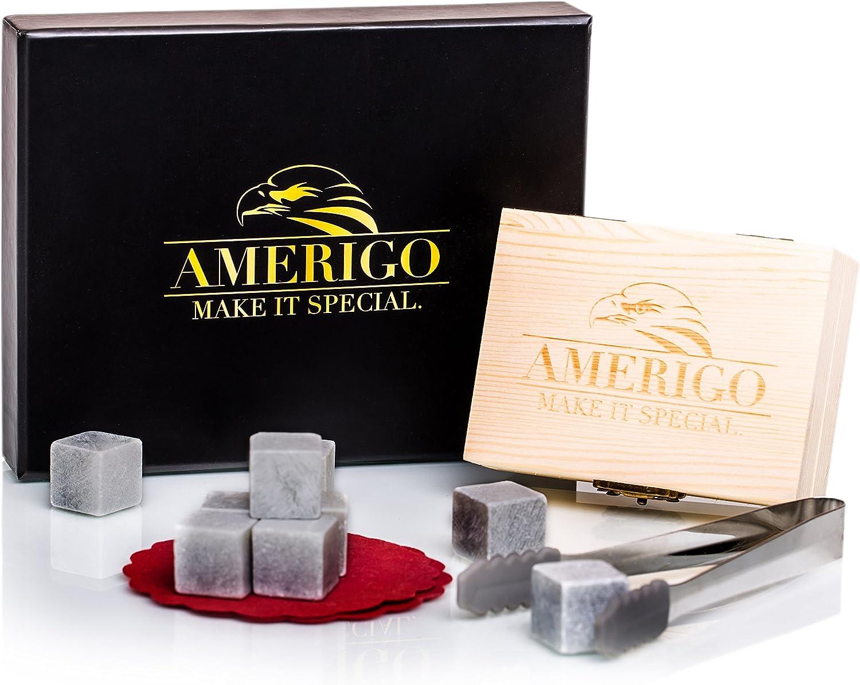 Amerigo Un Set Regalo Piedras Whisky Set de 9 Whisky Stones Gift Set - Cubitos de Hielo Reutilizables - Regalos para Hombre con Caja de Madera Hecha a Mano, Pinzas y 2 Posavasos