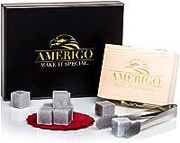 Amerigo Un Set Regalo Piedras Whisky Set de 9 Whisky Stones Gift Set - Cubitos de Hielo Reutilizables - Regalos para Hombre con Caja de Madera Hecha a Mano