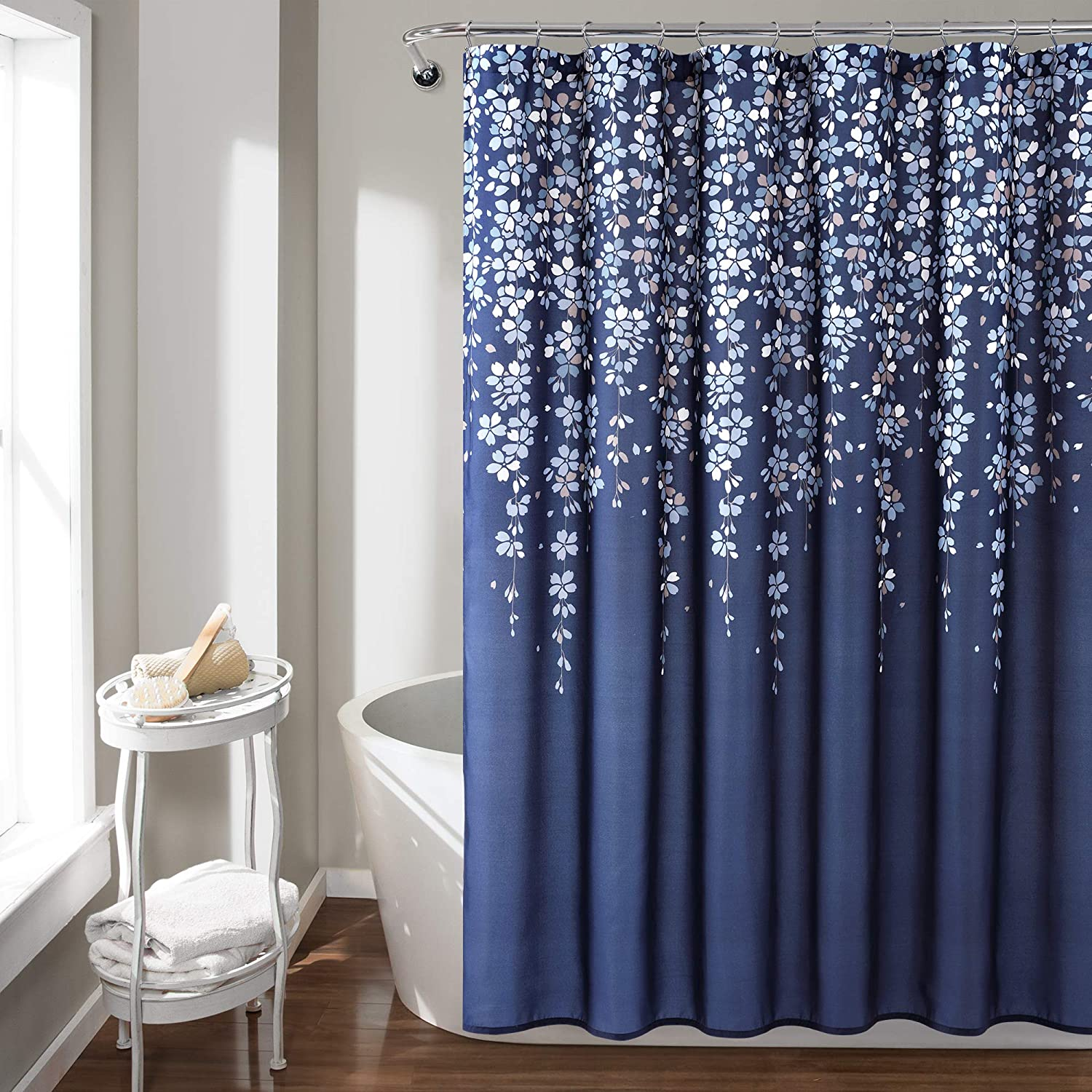Lush Decor, Navy Weeping Flower Shower Curtain-Fabric Floral Vine Print Design, x 72