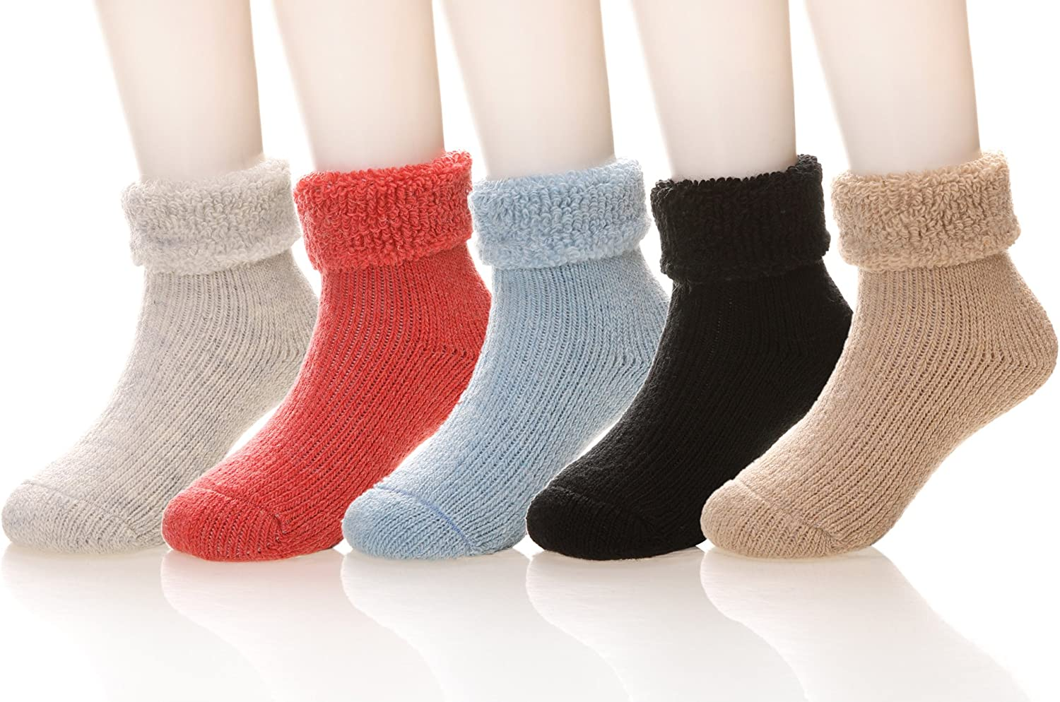 Eocom Childrens Winter Warm Wool Socks Colorful Kids Boy Girls Crew Socks 6 Pairs Random Color