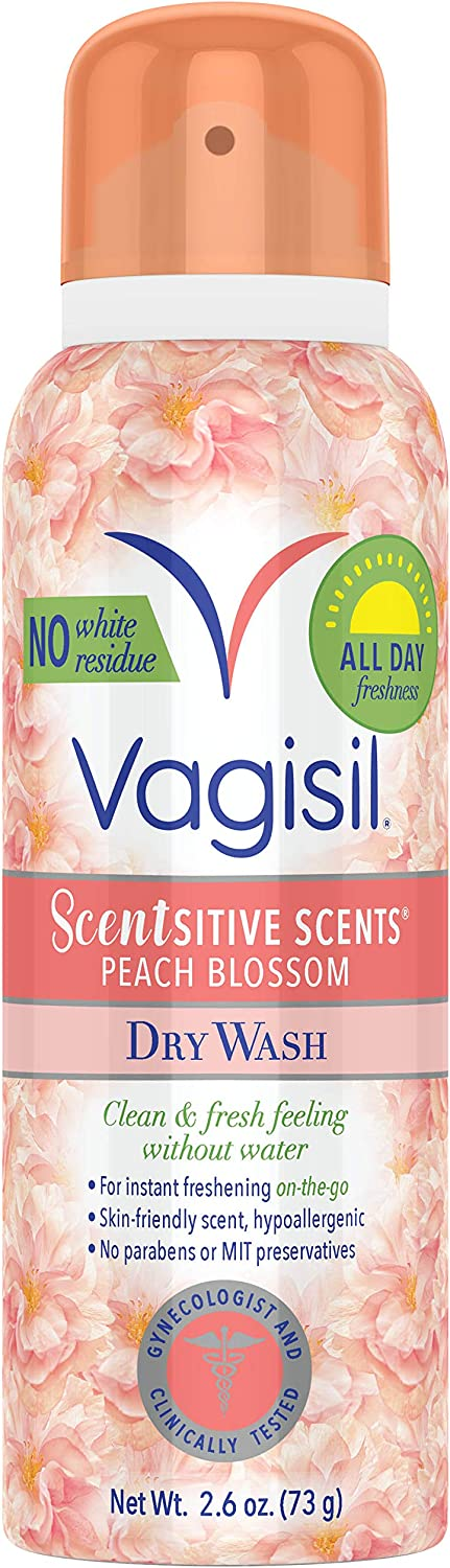 Vagisil Scentsitive Scents Dry Wash Deodorant Spray for On The Go Feminine Hygiene, Peach Blossom