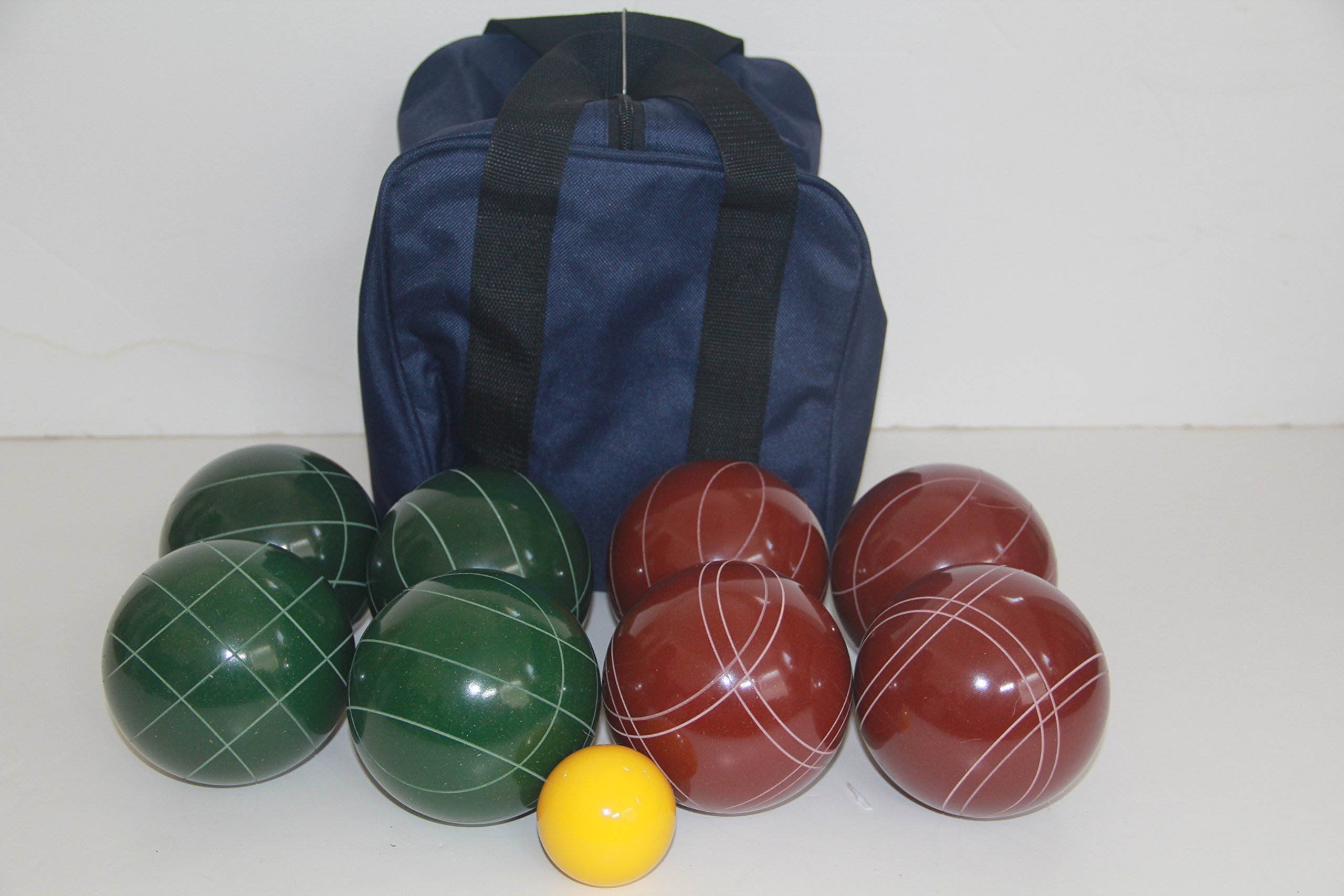 Premium Quality and American Made, 110mm EPCO Bocce Set - dark red and green balls and blue/black bag