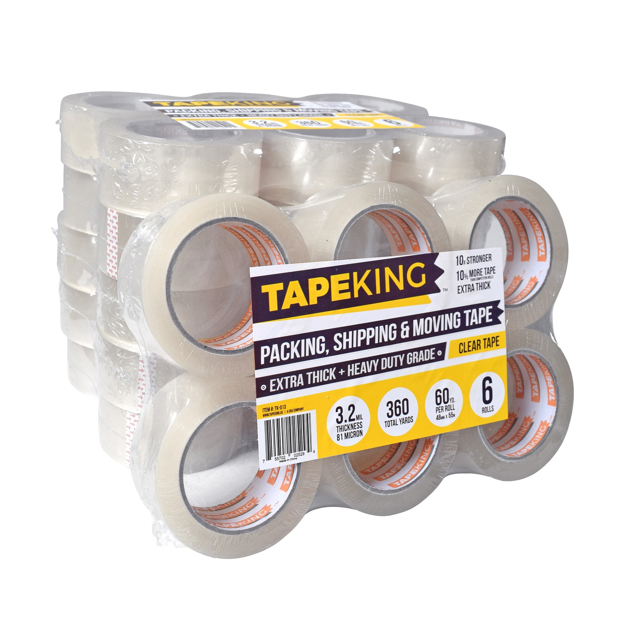 Tape King Clear Packing Tape Super Thick - 60 Yards Per Roll (Case of 36 Rolls) - Strong 3.2mil, Heavy Duty Adhesive Commercial Depot Tape for Moving, Sealing, Packaging Shipping, Office & Storage by Tape King (Image #1)
