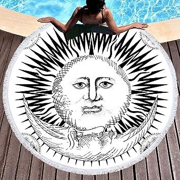 Redondo microfibra toalla de playa sol indio Toallas de playa hippie Bohemian Toalla de playa playa manta Toalla Grande 150 cm 1: Amazon.es: Hogar
