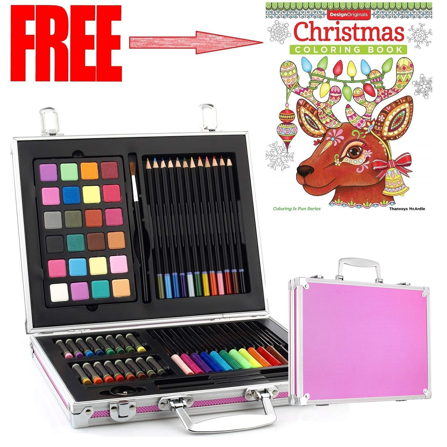 Gallery Studio- 69 Piece Deluxe Art Supplies Set in Pink Aluminum Case - (Quality Mediums Guaranteed) by Worldwide Specials LLC