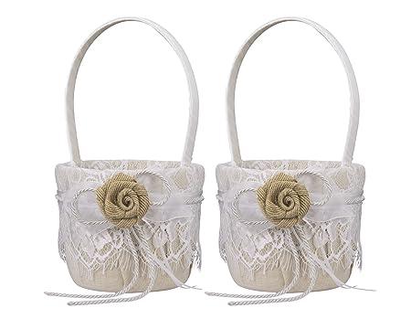 2 pcs Vintage yute lazo boda flores niña cesta flores jaula de ...