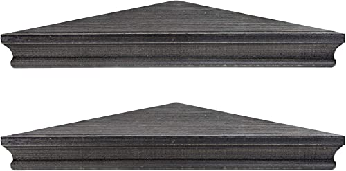 American Art Decor Rustic Wood Floating Corner Shelves – Black – Set of 2