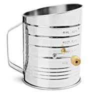 Nellam Traditional Flour Sifter Stainless Steel (5 Cup) For Baking - With Fine Mesh Screen Strainer Filter, Mini Small Handle