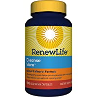 Renew Life Adult Cleanse - Cleanse More, Herbal & Mineral Formula - Overnight Constipation Relief - Gluten, Dairy & Soy Free - 100 Vegetarian Capsules (Package May Vary)