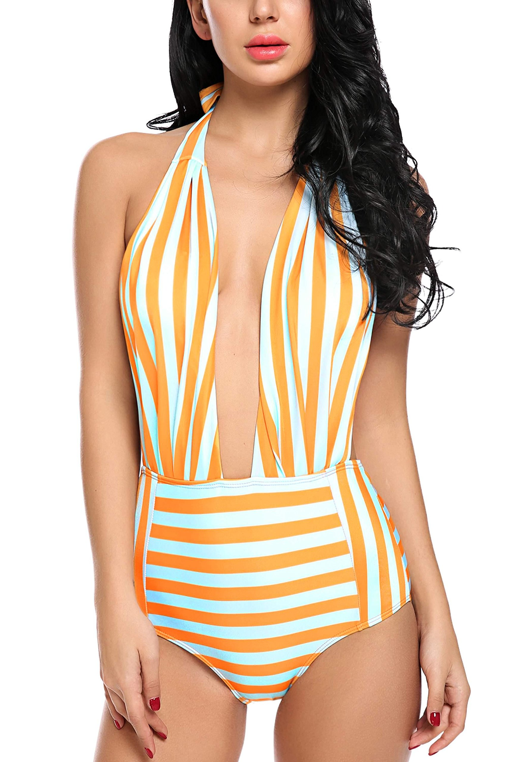 7eacf23190fbb BEAUSOM One and Two Pieces Swimsuit Polka Dot Stripped Bathing Suit for  Women High Waisted Bikini Swimwear Orange