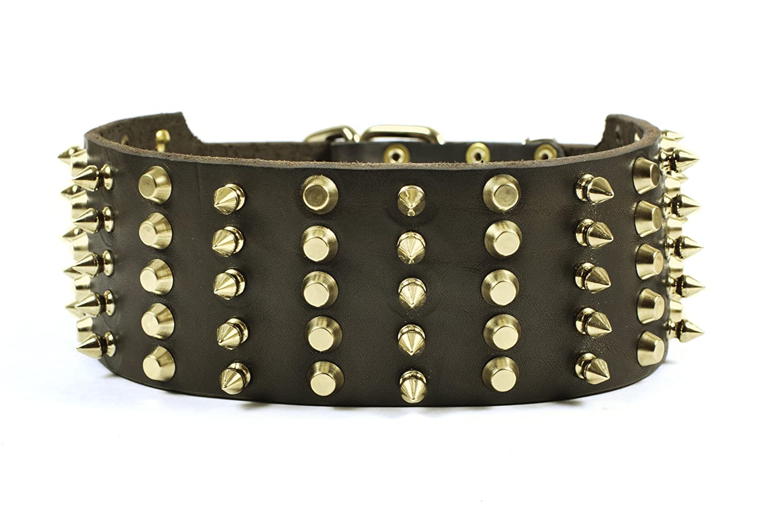 Dean & Tyler Leather Dog Collar  Wide Heaven  Brown 51cm By 7cm Width. Will Fit Neck Size 46cm 56cm. It Has Spikes Made of Brass. High Quality Leather From Netherlands.