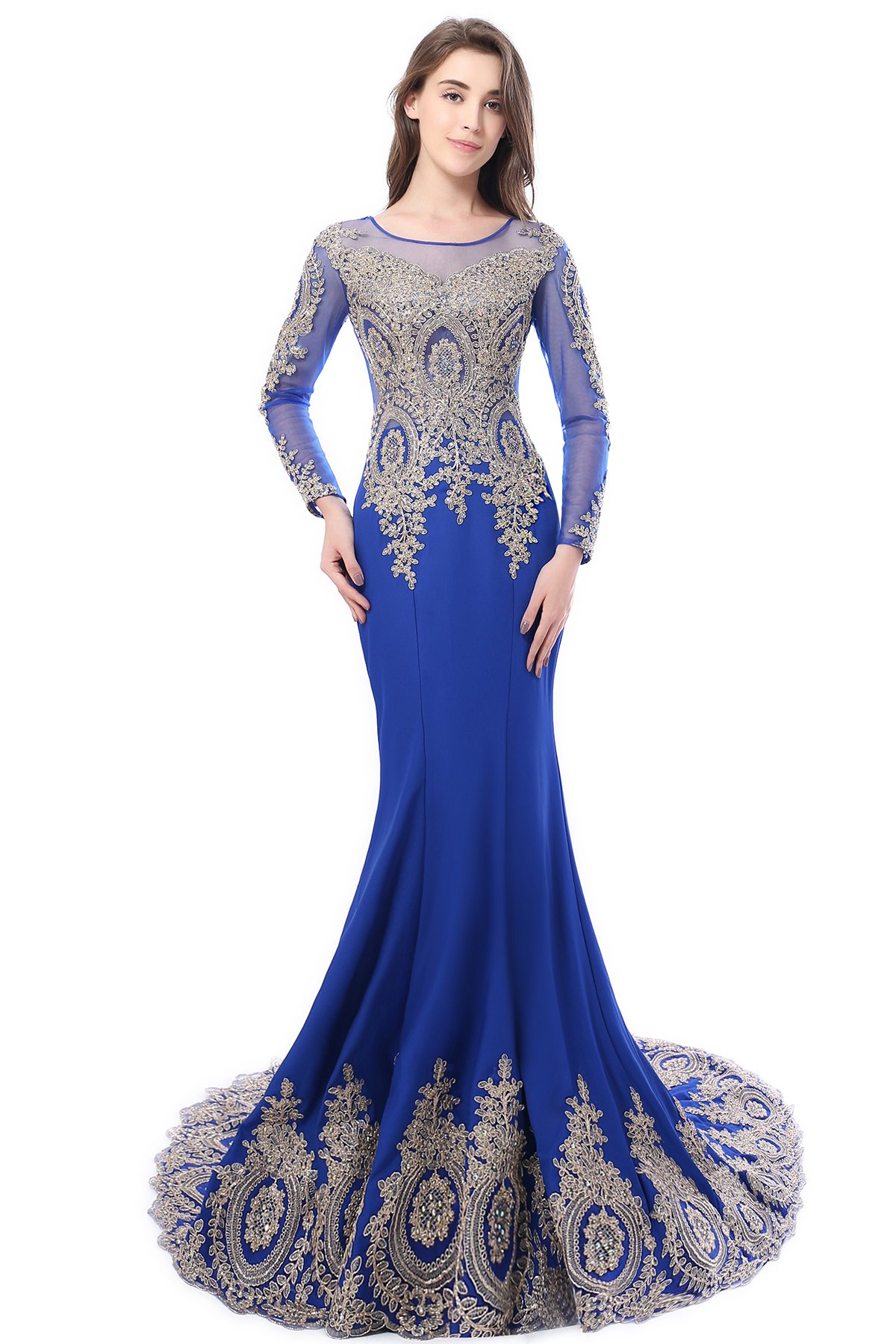 Babyonlinedress Womens Long Sleeve Lace Formal Mermaid Prom Evening Dress