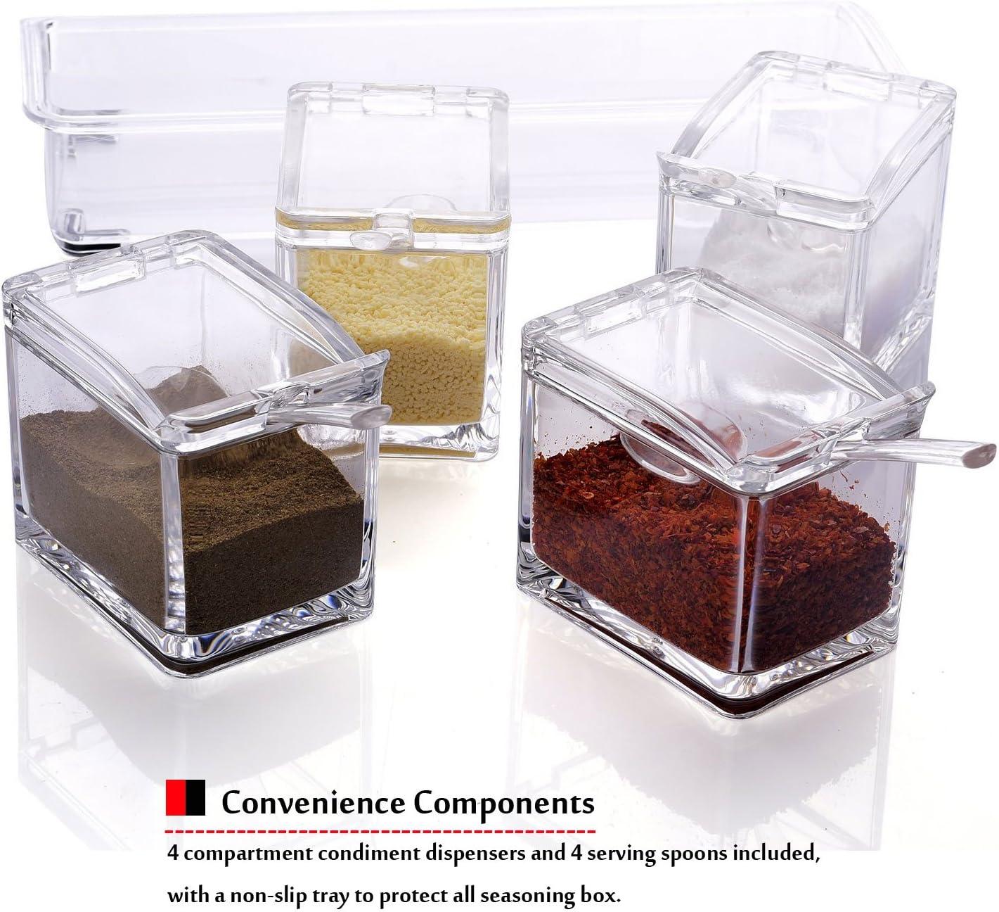 Cuisine 4 Grille bocal à épices assaisonnement Boîte Sel Conteneurs Condiment canettes Distributeur