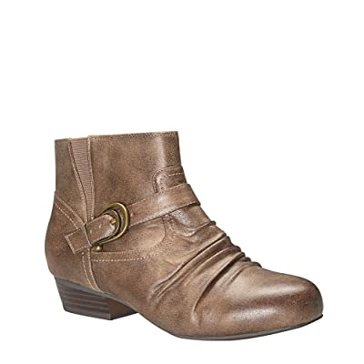 -AVENUE Women's Trinity Ruched Buckle Bootie
