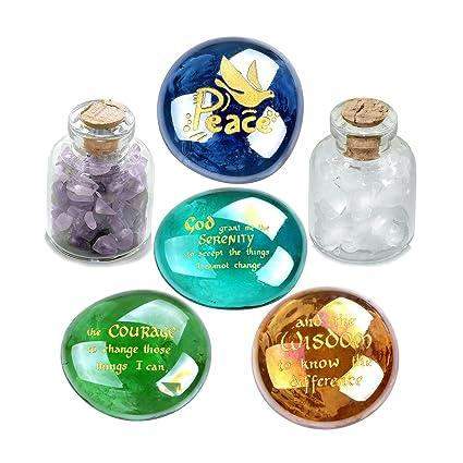 Serenity Courage Sabiduría Aliento Inspirational amulets Cristal Piedras Amatista y Set de botellas de cuarzo