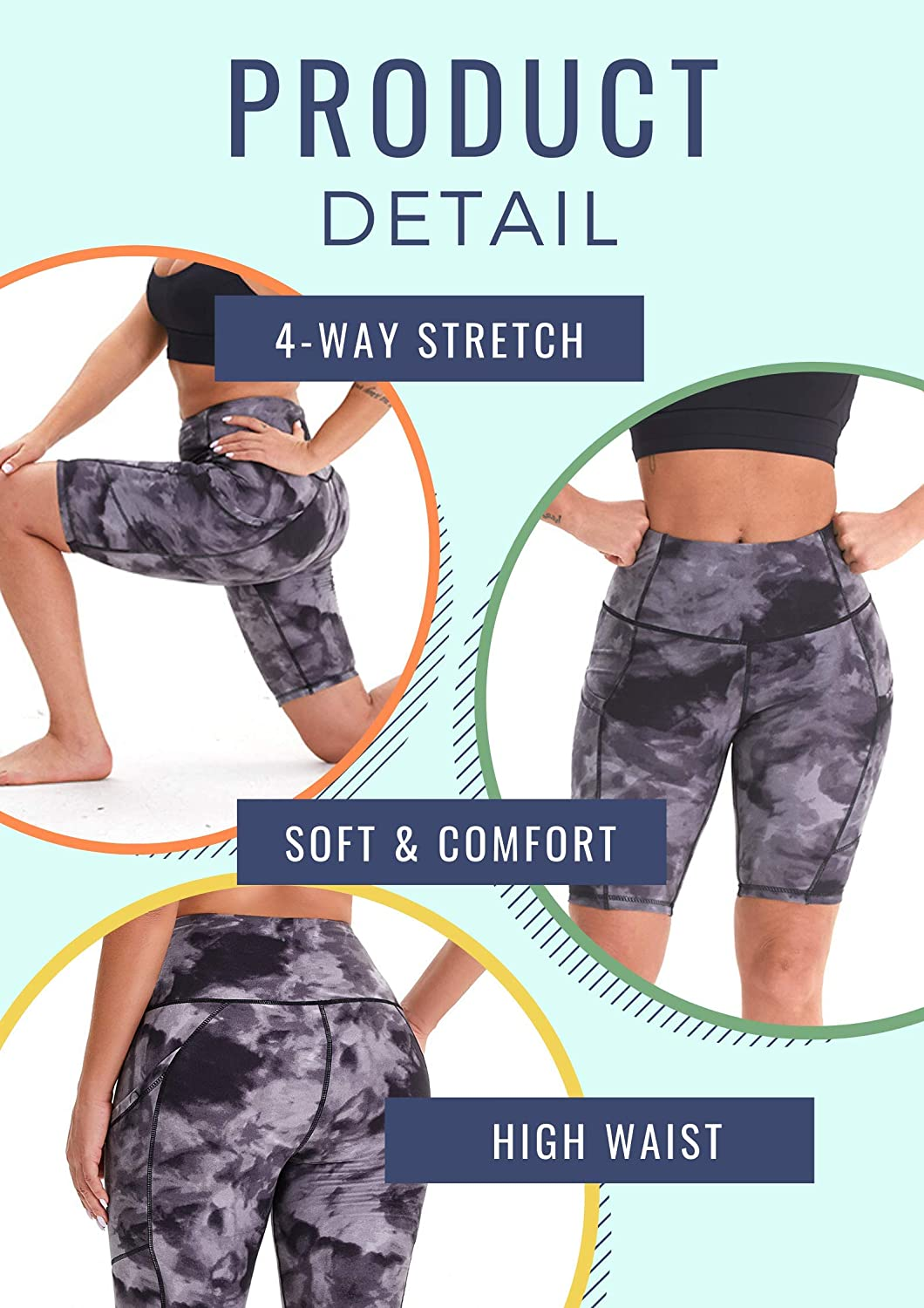 CAMPSNAIL Yoga Biker Shorts for Women High Waist Workout Running Compression Exercise Gym Shorts Seamless Side Pockets