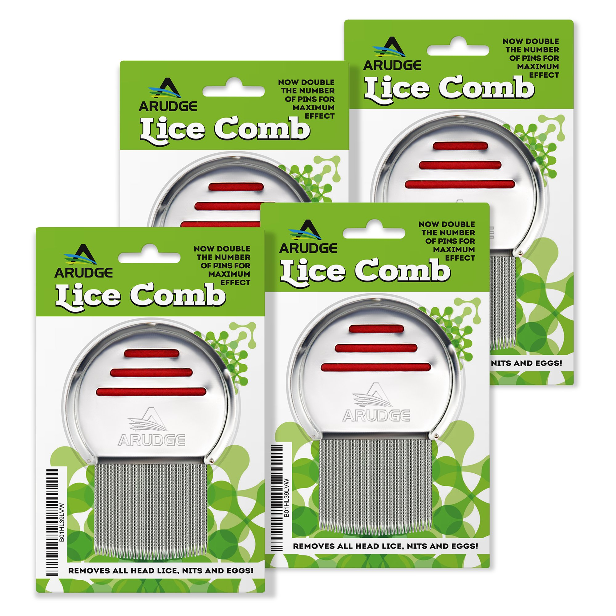 Head Lice Treatment, Egg & Nit Removal Terminator Comb By Arudge – Stainless Steel – Spiral Grooved Teeth – Ergonomic Design With Anti Slip Bands - 4 PACK