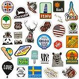 Chileeany「85枚セット」 防水 ステッカー レトロ ビンテージ スーツケース 防水紙 - スーツケース、スケートボード、ノート、車、自転車、 パソコン(World Tour)